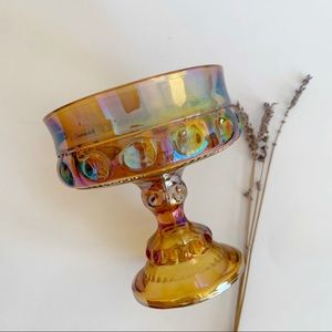 Vtg Indiana Glass Amber Crown Footed Bowl Compote